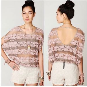 Free People Gray Oversized County Fair Lace Top XS